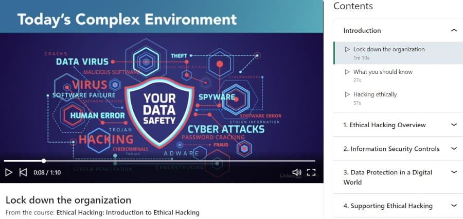 1. Ethical Hacking Introduction to Ethical Hacking (LinkedIn Learning)