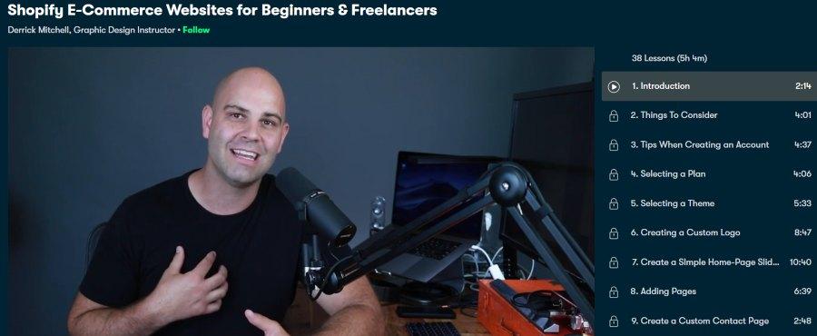 1. Shopify ECommerce Websites for Beginners & Freelancers (Skillshare)
