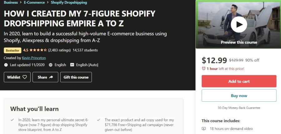 10. HOW I CREATED MY 7-FIGURE SHOPIFY DROPSHIPPING EMPIRE A TO Z (Udemy)