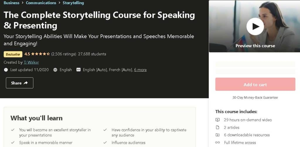 10. The Complete Storytelling Course for Speaking & Presenting (Udemy)