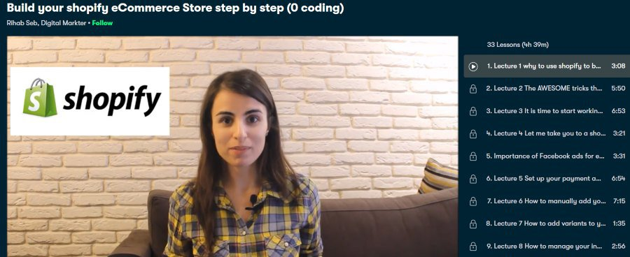11. Build your shopify eCommerce Store step by step (0 coding) (Skillshare)