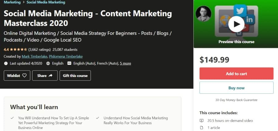 11. Social Media Marketing - Content Marketing Masterclass 2020 (Udemy)