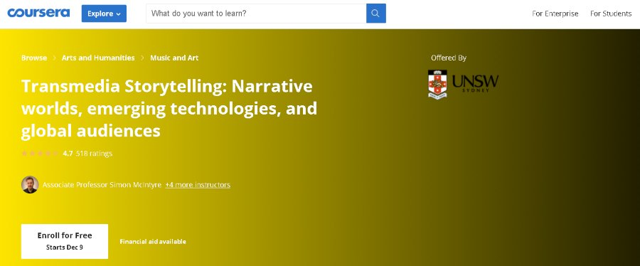 11. Transmedia Storytelling Narrative worlds, emerging technologies, and global audiences (Coursera)