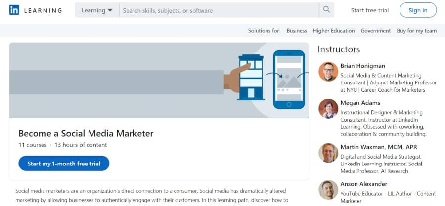2. Become a Social Media Marketer (LinkedIn Learning)