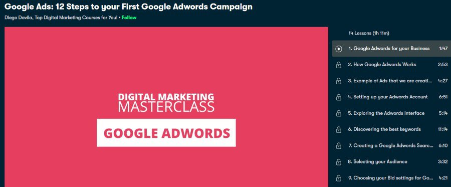 2. Google Ads 12 Steps to your First Google Adwords Campaign (Skillshare)
