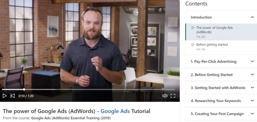 3. Google Ads (AdWords) Essential Training (LinkedIn Learning)