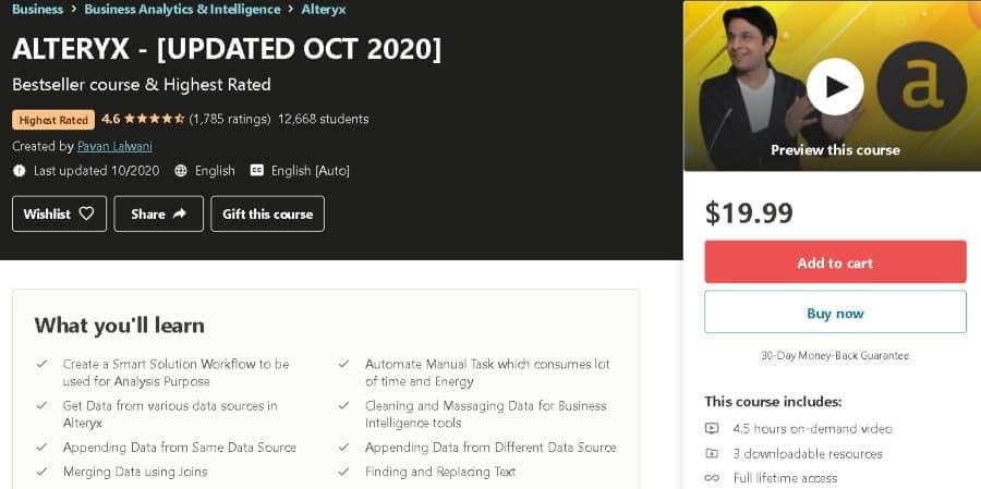 4. ALTERYX - [UPDATED OCT 2020] (Udemy)