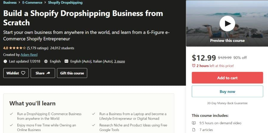 4. Build a Shopify Dropshipping Business from Scratch (Udemy)