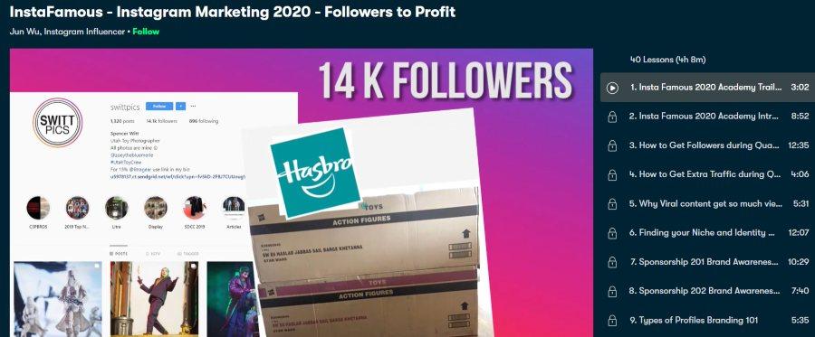 4. InstaFamous - Instagram Marketing 2020 - Followers to Profit (Skillshare)