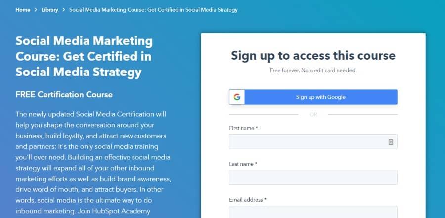 4. Social Media Marketing Course Get Certified in Social Media Strategy (Hubspot)