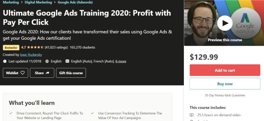 4. Ultimate Google Ads Training 2020 Profit with Pay Per Click (Udemy)