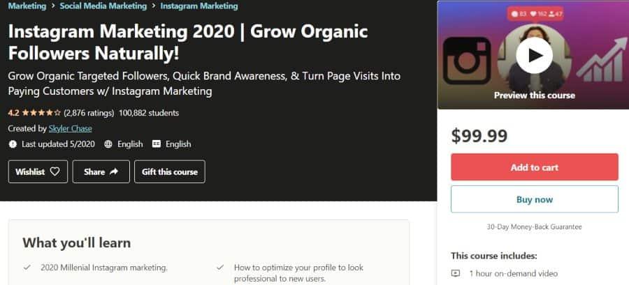 5. Instagram Marketing 2020 Grow Organic Followers Naturally! (Udemy)