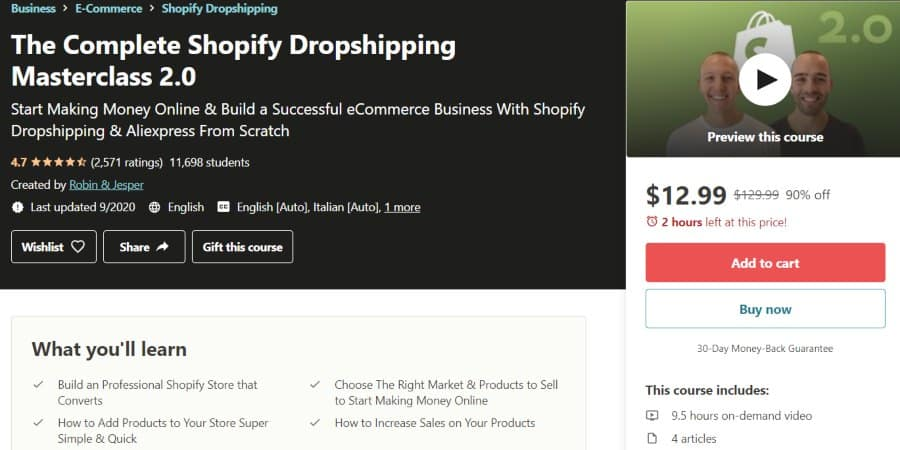 5. The Complete Shopify Dropshipping Masterclass 2.0 (Udemy)