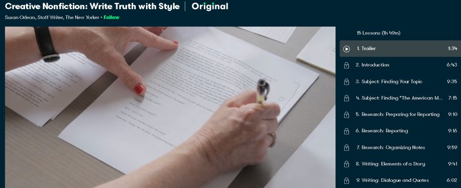 6. Creative Nonfiction Write Truth with Style (SkillShare)