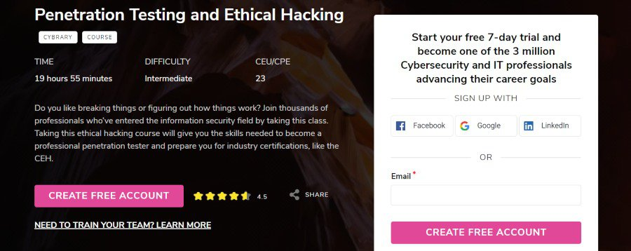 6. Penetration Testing and Ethical Hacking (Cybrary)