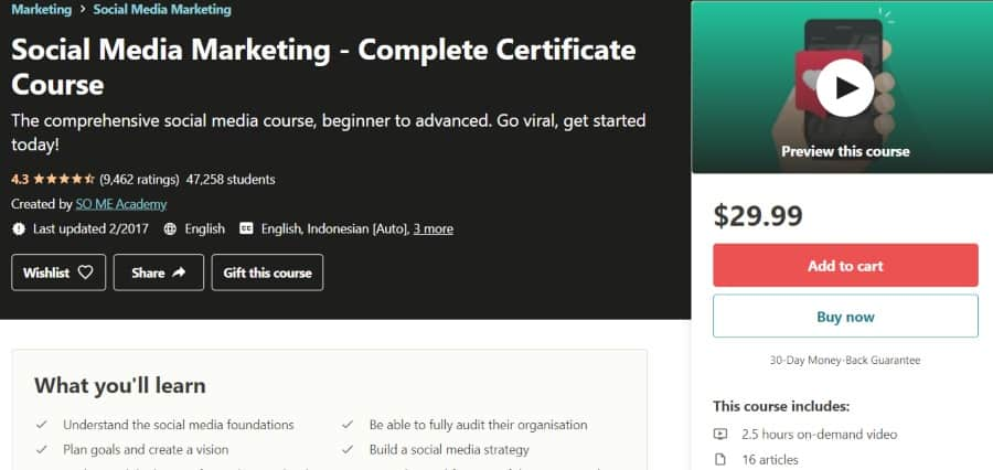 6. Social Media Marketing - Complete Certificate Course (Udemy)