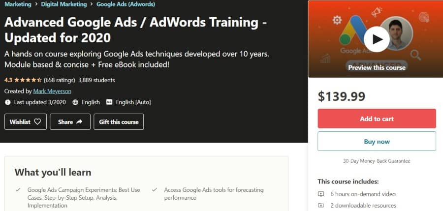 7. Advanced Google Ads AdWords Training - Updated for 2020 (Udemy)