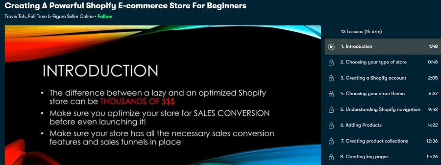 7. Creating A Powerful Shopify Ecommerce Store For Beginners (Skillshare)