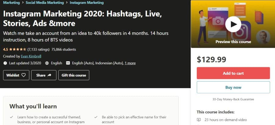 7. Instagram Marketing 2020 Hashtags, Live, Stories, Ads & more (Udemy)