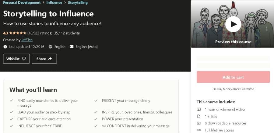 7. Storytelling to Influence (Udemy)
