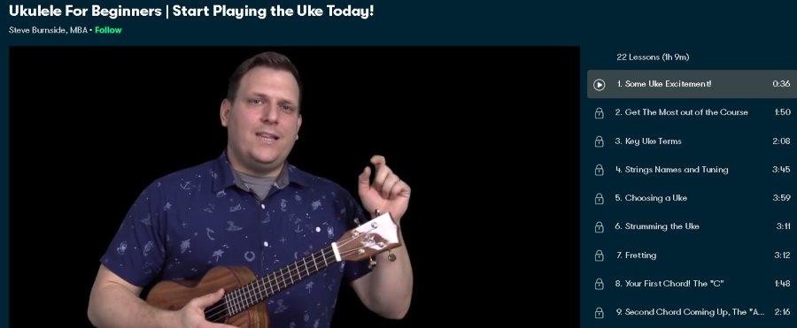 7. Ukulele For Beginners Start Playing the Uke Today! (SkillShare)