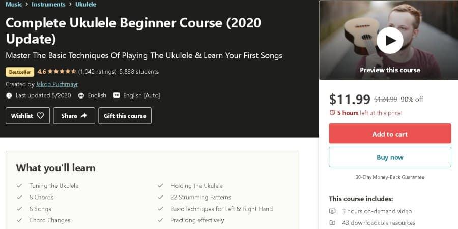 8. Complete Ukulele Beginner Course (2020 Update) (Udemy)