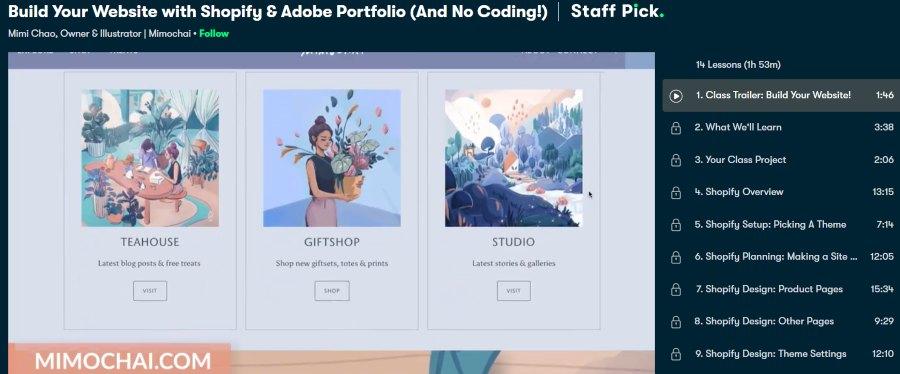 9. Build Your Website with Shopify & Adobe Portfolio (And No Coding!) (Skillshare)