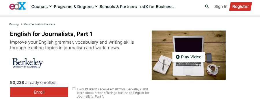 9. English for Journalists, Part 1 (edX)