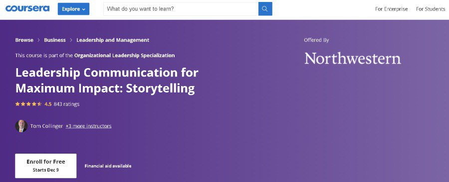 9. Leadership Communication for Maximum Impact Storytelling (Coursera)