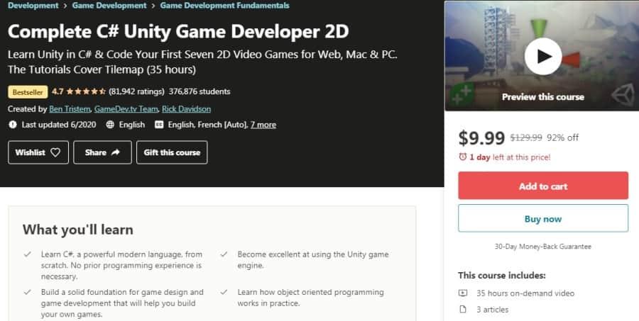 1. Complete C# Unity Game Developer 2D (Udemy)
