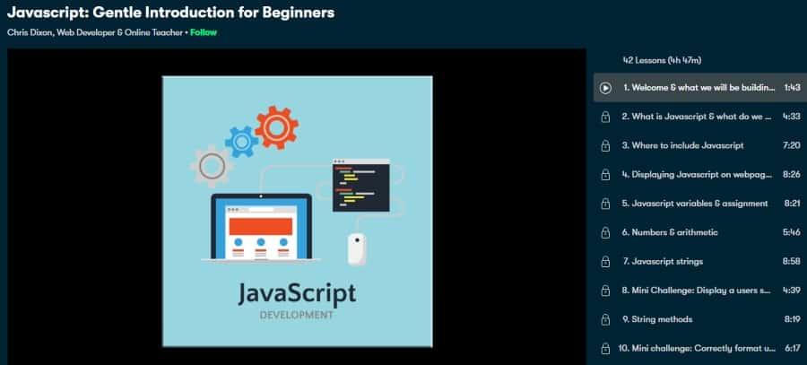 1. Javascript Gentle Introduction for Beginners (Skillshare)