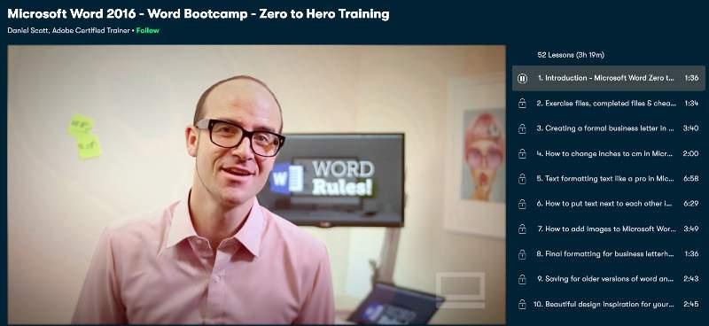 Microsoft Word 2016 - Word Bootcamp - Zero to Hero Training (Skillshare)
