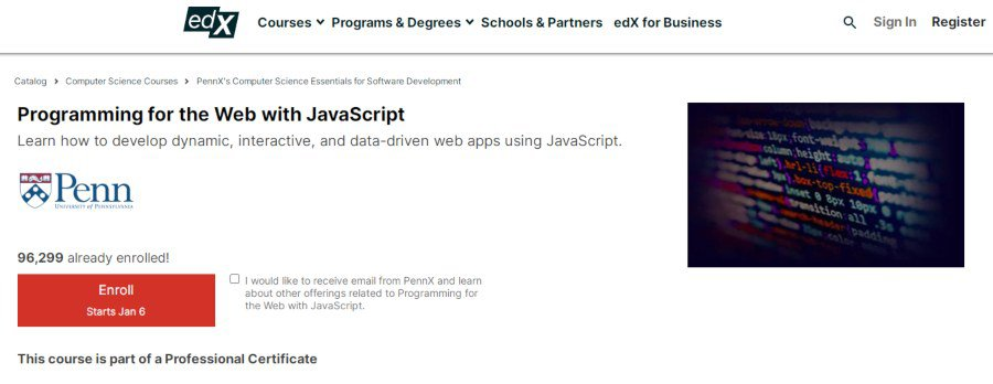 10. Programming for the Web with JavaScript (edX)