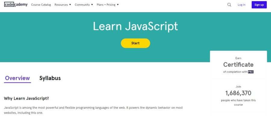 12. Learn JavaScript (Codecademy)