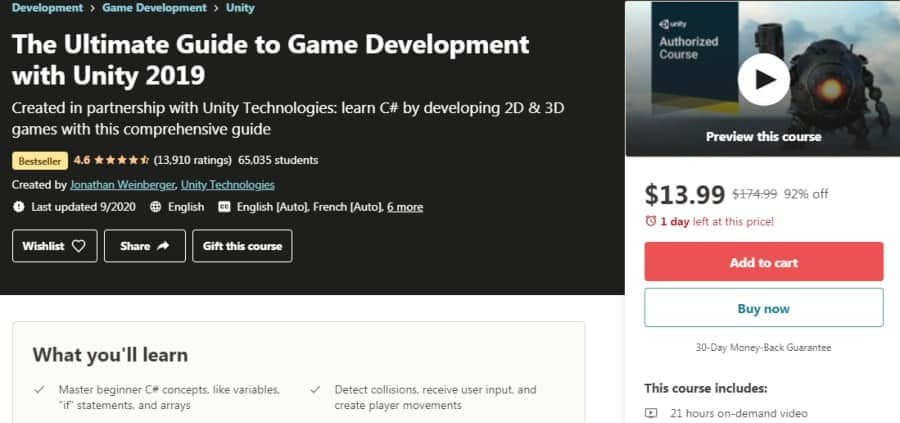 12. The Ultimate Guide to Game Development with Unity 2019 (Udemy)