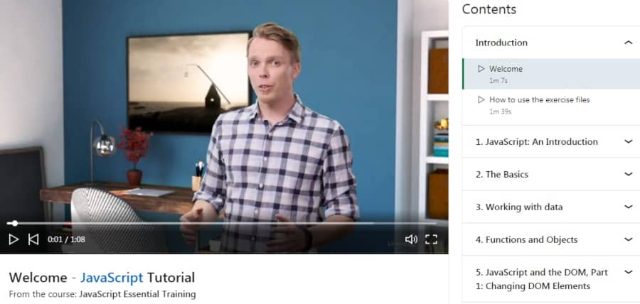2. JavaScript Essential Training (LinkedIn Learning)