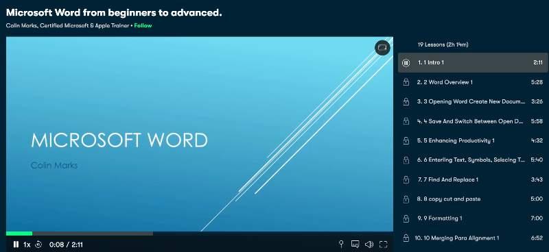 Microsoft Word from beginners to advanced (Skillshare)