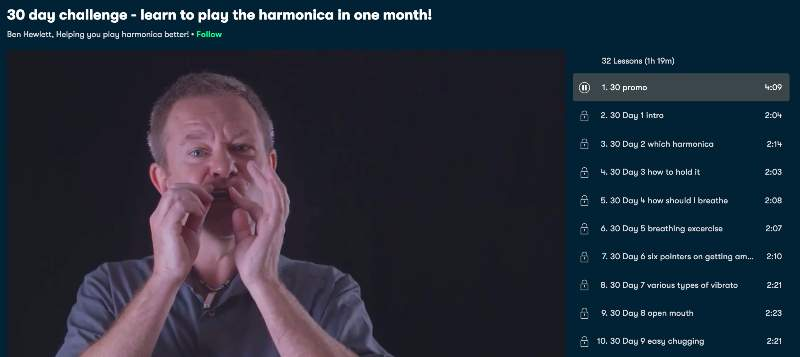 1. 30-day challenge - learn to play the harmonica in one month! (Skillshare)