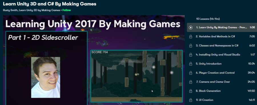 4. Learn Unity 3D and C# By Making Games (Skillshare)