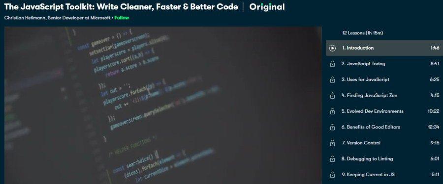 4. The JavaScript Toolkit Write Cleaner, Faster & Better Code (Skillshare)