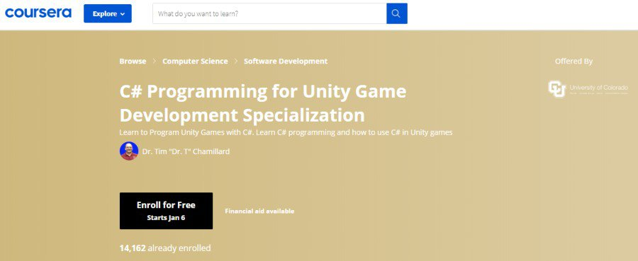 6. C# Programming for Unity Game Development Specialization (Coursera)