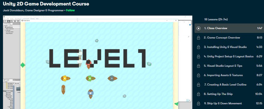 7. Unity 2D Game Development Course (Skillshare)