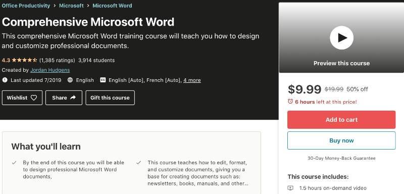 Comprehensive Microsoft Word (Udemy)