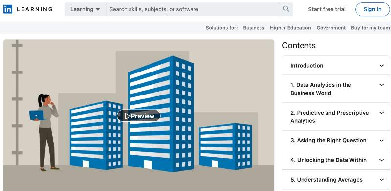 Data Analytics for Business Professionals (LinkedIn Learning)