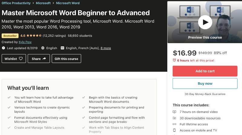 Master Microsoft Word Beginner to Advanced (Udemy)
