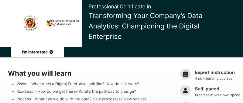 Professional Certificate in Transforming Your Company's Data Analytics: Championing the Digital Enterprise (edX)