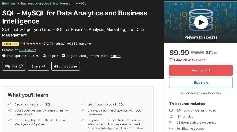 SQL - MySQL for Data Analytics and Business Intelligence (Udemy)