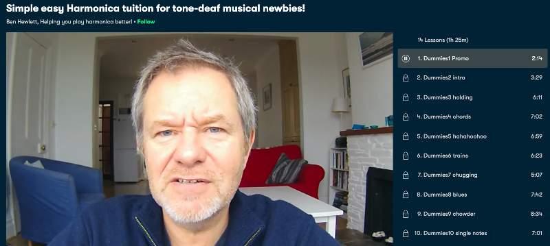 2. Simple easy Harmonica tuition for tone-deaf musical newbies! (Skillshare)