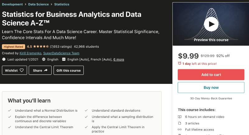 Statistics for Business Analytics and Data Science A-Z™ (Udemy)