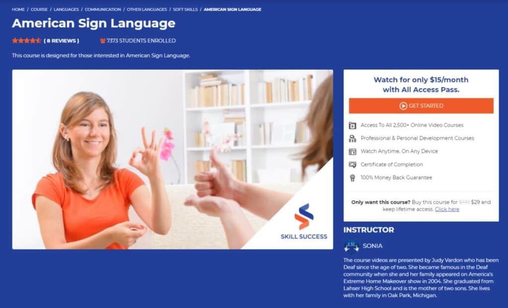 American Sign Language ASL Skill Success
